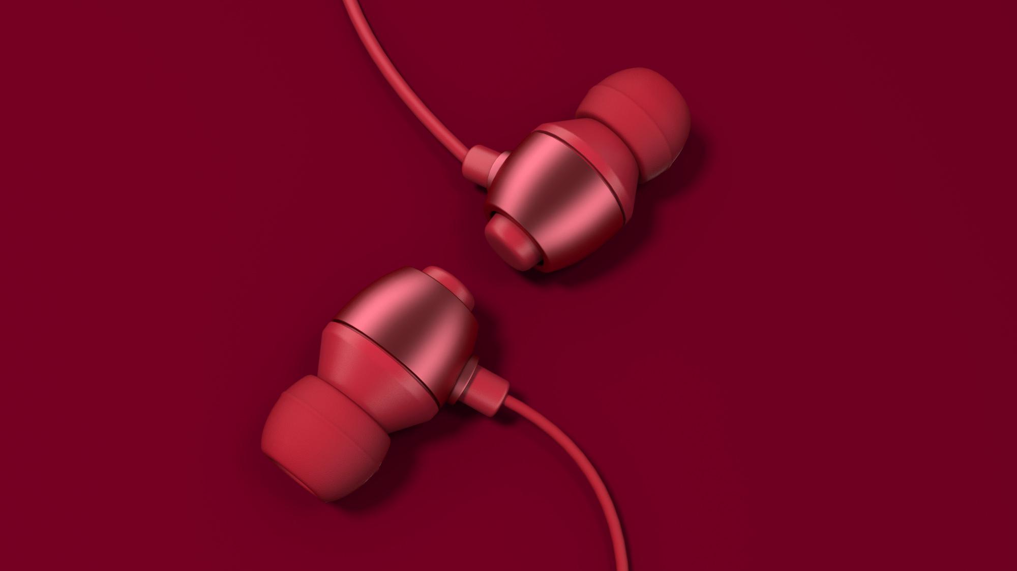 max+vray高质量渲染中国红耳机